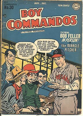 BOY COMMANDOS Nov Dec 1948 No 30 DC Bob Feller Sam Spade Ad Wheaties Ad