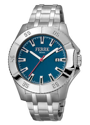 Ferre Milano Men's FM1G085M0061 Blue Dial Stainless Steel Date Wristwatch