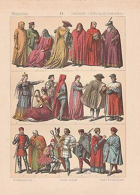 Italiener Italien Mode Trachten LITHOGRAPHIE von 1883 Doge Jude Mittelalter
