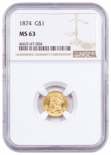 1874 Indian Head (Type 3) Gold Dollar $1 NGC MS63 SKU60873