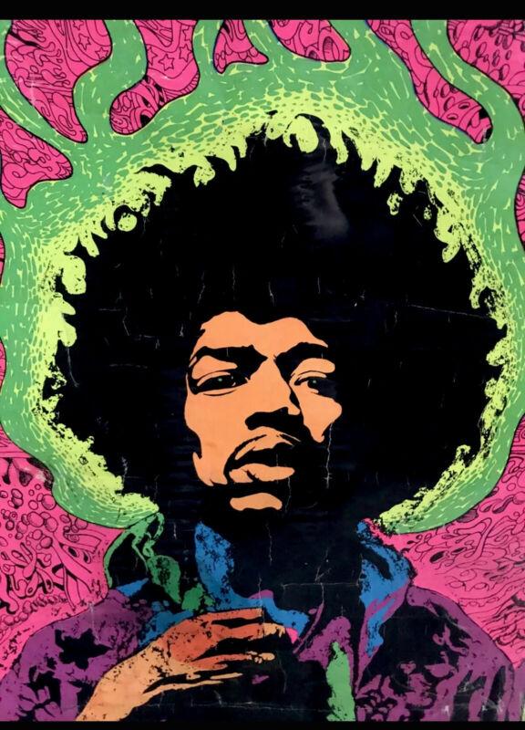 1960's Original Jimi Hendrix Black Light Poster. *Rare Authentic Joe Roberts Jr.