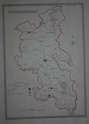 Original antique map BUCKINGHAMSHIRE POLITICAL Samuel Lewis, J&C Walker, c.1835