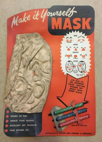 Vintage 1951 Halloween Make It Yourself Rubber Mask - NOS - Unused