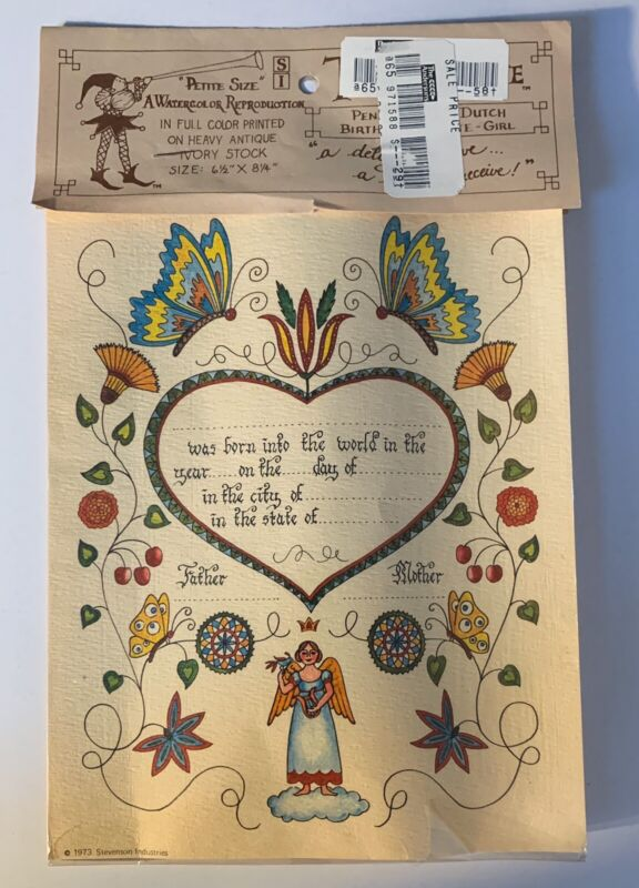 Vintage 1973 Birth Certificate Tender Tribute Pennsylvania Dutch Folk Art NOS