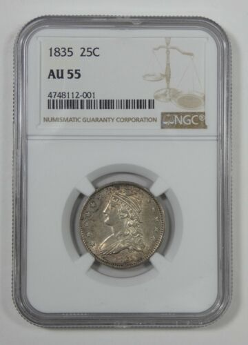 1835 Capped Bust Quarter CERTIFIED NGC AU 55 Silver 25c