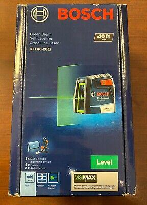 Bosch 40 Self Leveling Cross Line Laser W Visimax Green Beam Gll40-20g