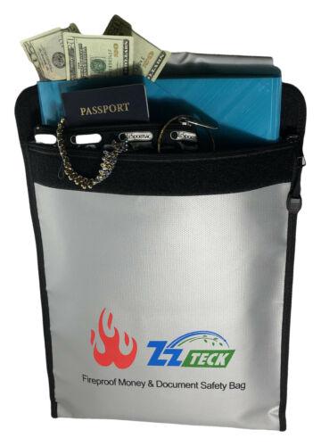 """Fireproof Document Bag 15x12"""" Waterproof Document Holder Money Safe Pouch Zipper"""