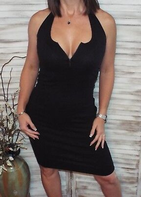Low Cut V-Neck Zipper Cleavage Ribbed Stretch Halter Summer Dress Black S/M/L ()