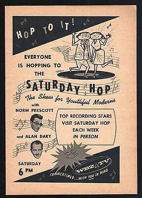 1956 Wbz Tv Ad Norm Prescott   Alan Dary Host Saturday Hop Boston Massachusetts