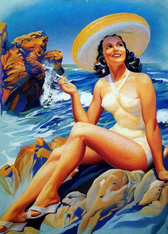 1940s Mexico Latina Senorita Woman Beach Advertisement Vintage Pin Up Art Poster