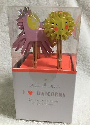 Meri Meri Unicorn 24 Cupcake Liners Cases and Toppers Rainbows Unicorns Suns ()