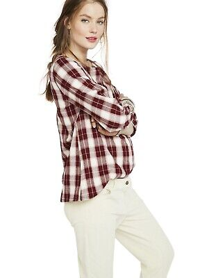 Hatch Maternity Women's THE DELFINA TOP Plaid Bordeaux Cotton Size 1 (S/4-6) NEW comprar usado  Enviando para Brazil