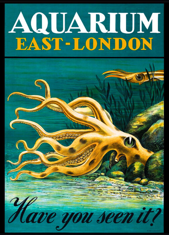 East London England Great Britain Aquarium Vintage Travel Advertisement Poster