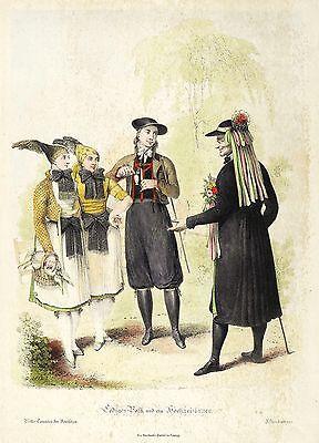 ALTENBURG & ALTENBURGER LAND - TRACHTEN - HOCHZEIT - kolor. Lithografie 1815