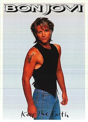 "MUSIC POSTER~Bon Jovi Keep The Faith 1992 Jon Standing Solo W/Tattoo NOS 24x34""~"