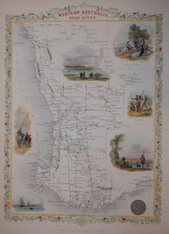 AUSTRALIA. WESTERN AUSTRALIA BY JOHN TALLIS 1850.