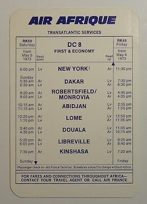 Air Afrique Airlines 1973   Timetable     Transatlantic Services