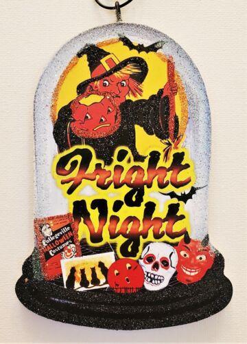 WITCH, SKULL, DEVIL, FRIGHT NIGHT *  Glitter WOOD  HALLOWEEN ORNAMENT * Vtg Img