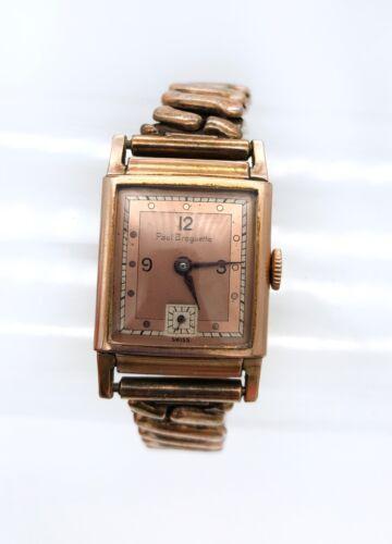 Paul Breguette Vintage Watch * WORKS * 10K Gold Filled 17 Jewels * Original Band