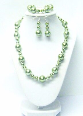 """20"""" Dark Olive Glass Pearl w/Silver Tone Daisy Spacer Bead Necklace/Bracelet/Ear for sale  Fairburn"""