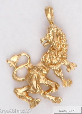 Leo Lion 24K Yellow Gold Plated Zodiac Charm Pendant Astrological Sign Horoscope