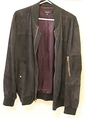 Paul Smith PS Suede Leather Flight Bomber Jacket Size Medium Navy