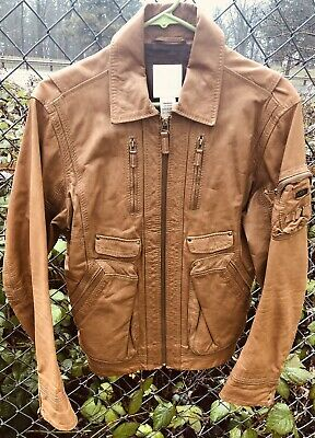 DIESEL Mens Tan Leather Jacket. Size M, Fits Small. Reg Price $649