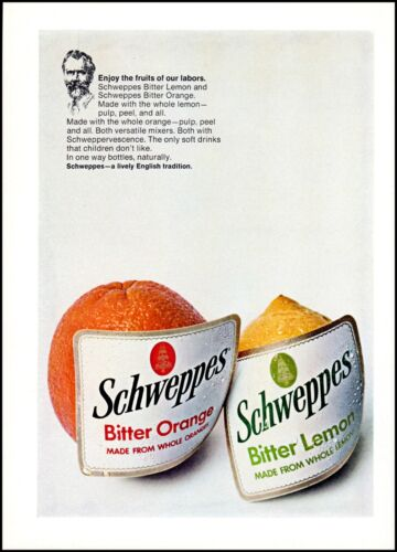 1968 Schweppes bitter lemon orange soda mixers vintage photo print Ad ads31