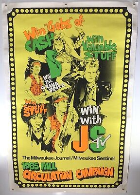 1985 MILWAUKEE JOURNAL SENTINEL Vintage 25x38 Screen Printed POSTER Madonna 80s Screen Printed Journal