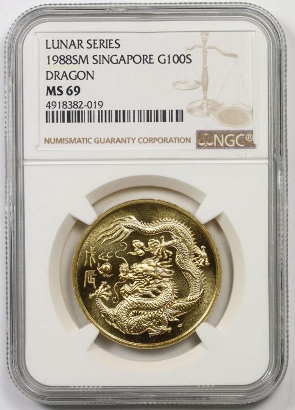 1988 SM Singapore G100S Gold 100 Singold Lunar Series Dragon MS 69 NGC 1 oz