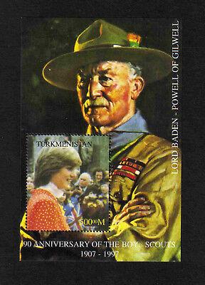 Turkmenistan 1997 Boy Scouts/ Baden Powell/ Princess Diana m/s (bogus?) MNH
