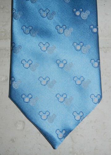 Walt Disney Disneyland Resort Mickey Mouse Ear Print Mens Blue Silk Neck Tie