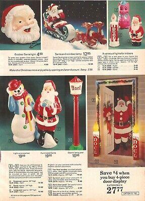 VINTAGE 1974 SNOWMAN SANTA LAMP POST CANDLES OUTDOOR LIGHTS BLOW MOLD PRINTS AD