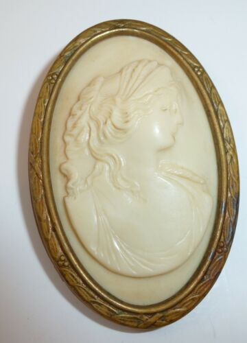 Antique Victorian Celluloid Raised Cameo Bezel Set Ornate Gold Frame Pin Brooch