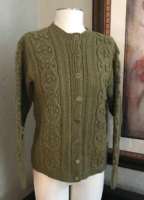 Hills of Donegal Ireland PURE WOOL Handknit Fisherman Cable Cardigan Sweater SM