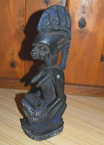 Antique Yoruba Kneeling Woman Statue With Kola Nut Offering Bowl Nigeria, Africa