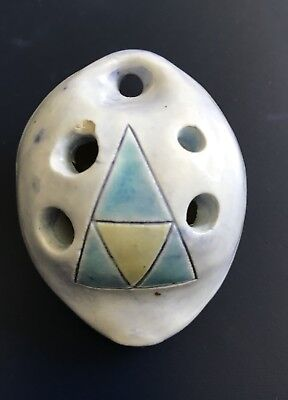 Vintage Ocarina 5 Hole hand made hand painted clay piece... In Blue