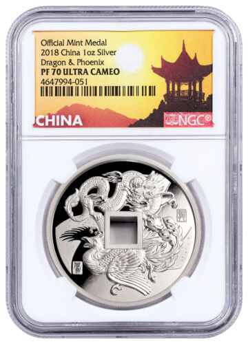 2018 China Dragon & Phoenix 1 oz Silver Proof Medal NGC PF70 UC Pagoda SKU52125