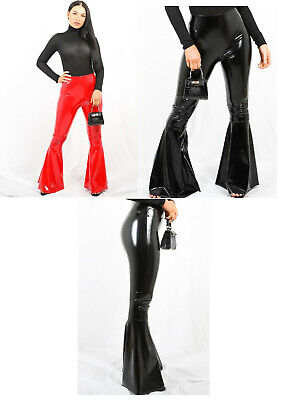 Ladies Vinyl flares bell bottoms goth pvc emo punk fetish drag queen Pants (Drag Pants)