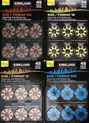 Kirkland Signature 48 Hearing Aid Batteries Premium Zinc-Air Sizes 10 13 312 675 ()