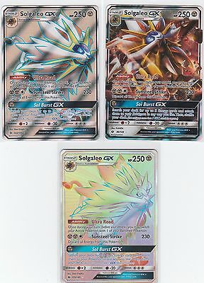 3x LOT Pokemon SUN & MOON Gx + FULL ART Solgaleo 143/149 + 89/149 + 155/149