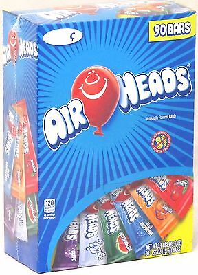 Airheads Candy (Airheads 90 Ct Box Candy Taffy Bars Assorted Flavors Bulk Air Heads Over 3)