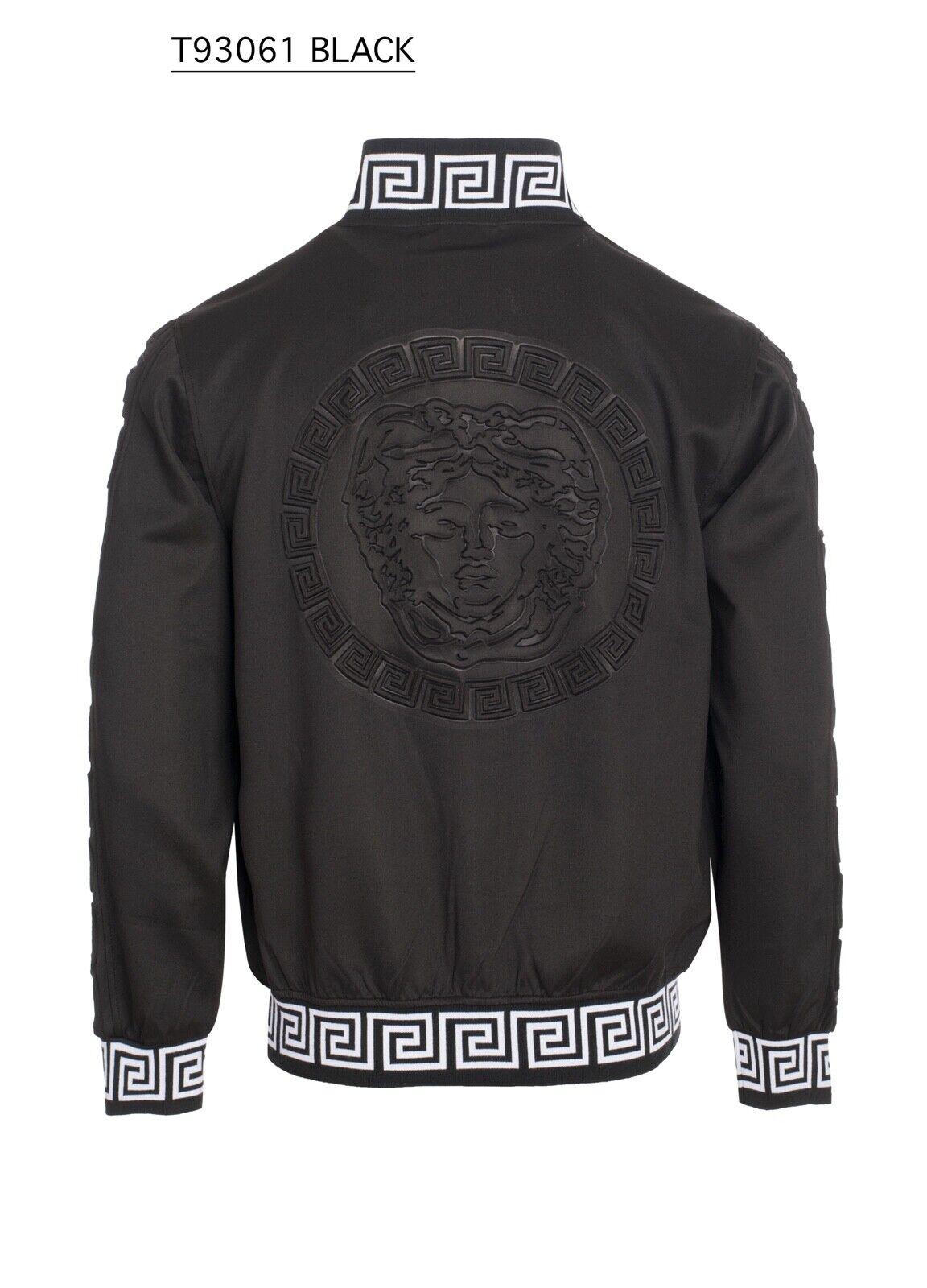 New Mens Black Zip Up Jacket Medusa on Back with White Greek Pattern Collar
