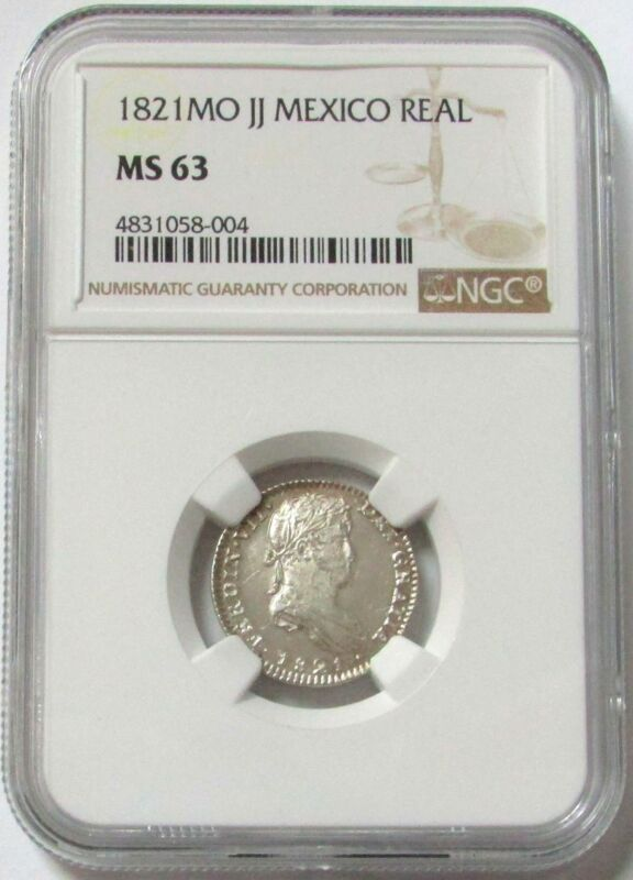 1821 MO JJ SILVER MEXICO 1 REAL FERDINAND VII NGC MINT STATE 63 (SEMI CAMEO)