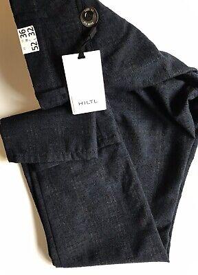 NWT HILTL MEN Tierre-E TROUSER NAVY MOTTLED Wool Flat Front Slim Fit SIZE UK 35