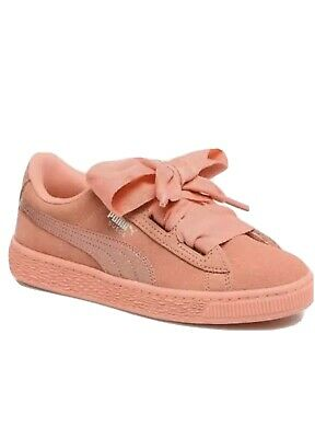 Puma Basket Suede Heart  Shell Pink Ribbon Trainers Girl Kids U.K. Size 1 EU 33