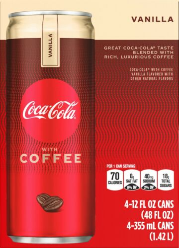 Coke with Coffee, Vanilla, 12 Fl Oz, 4 Count (pack of 2)