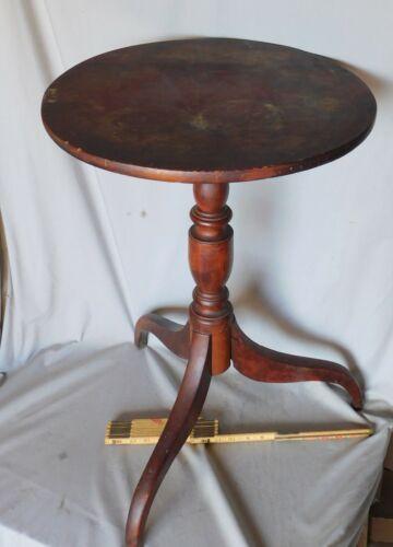 Antique Candle stand Federal Hepplewhite pedestal 1810 mahogany tripod American