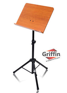 Wood Music Stand - Wooden Bookplate CONDUCTOR Sheet Metal Holder Mount Tripod