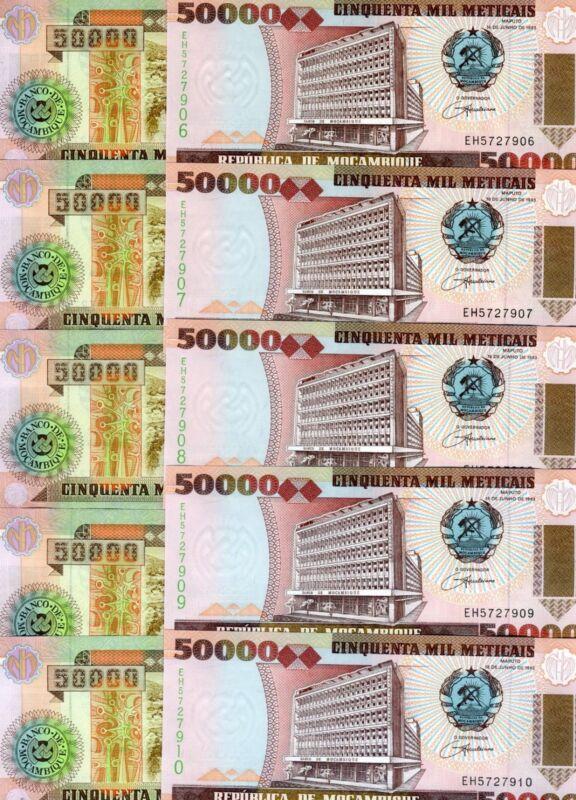 LOT Mozambique,  10 x 50000 (50,000) meticais, 1993, Pick 138, UNC